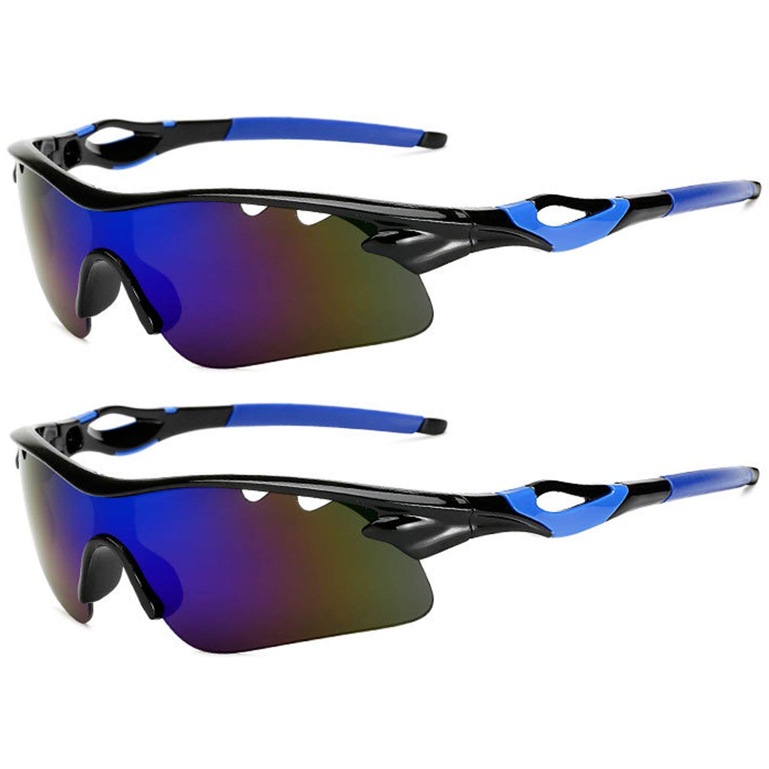 25e8d9487b3 Get Quotations · Polarized Sports Sunglasses Glare UV400 Protection HD  Night Vision for Motorcycle Riding Glasses (2 PACK