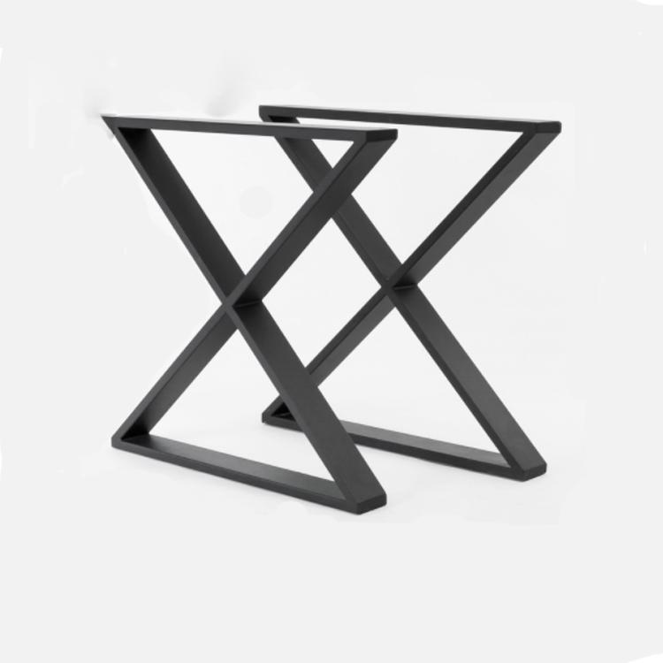 Prix usine noir revêtement en poudre moderne salle à manger en forme de X métal Table jambes Table en gros