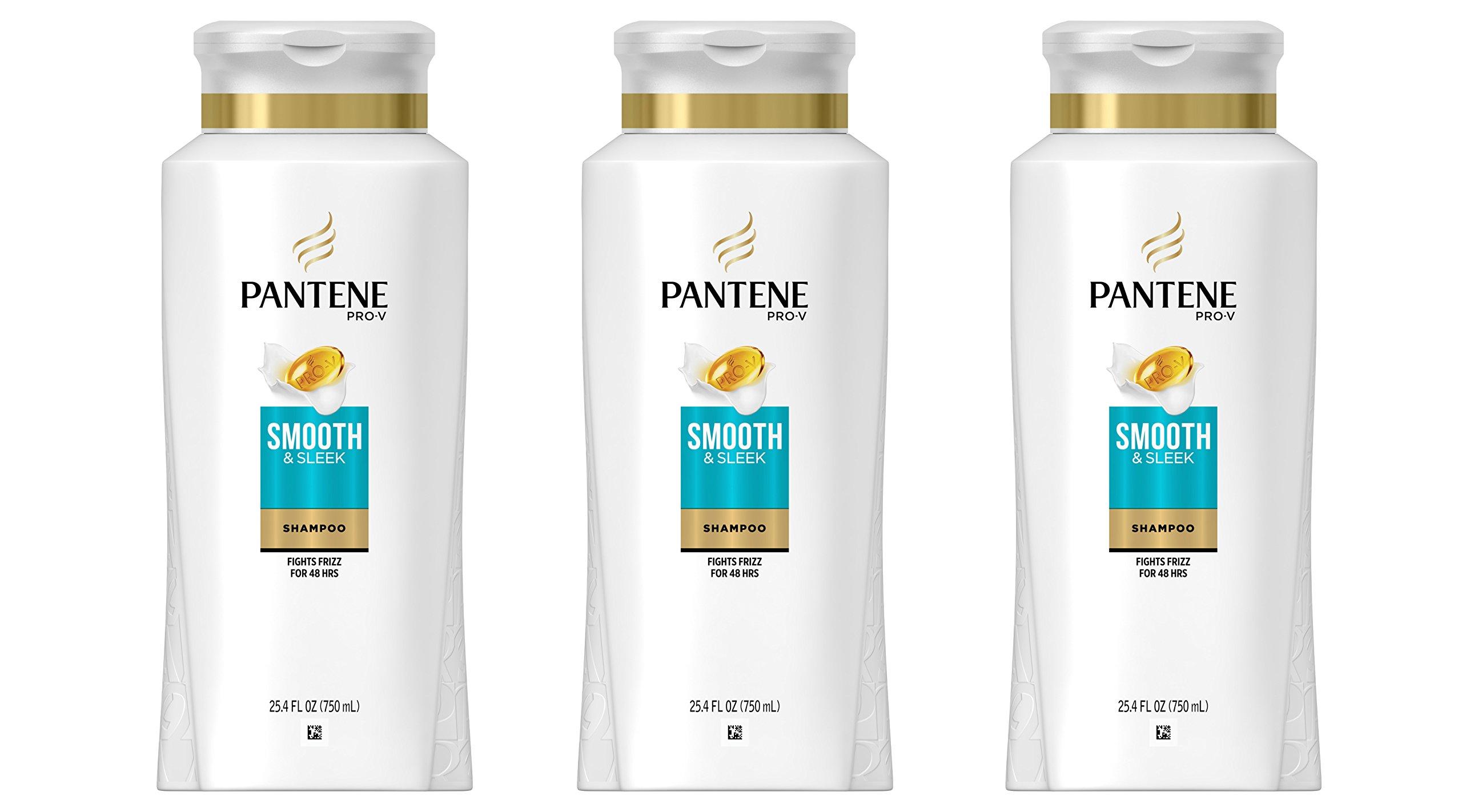Pantene Pro-V Smooth & Sleek Shampoo, 25.4 fl oz (pack of 3) (Packaging May Vary)
