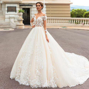 OEM Service Long Tail Wedding Dresses Ball Gown Luxurious vestido de noiva With Sleeve
