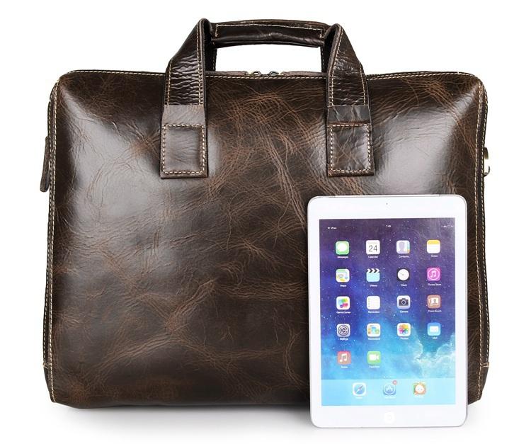 J.M.D Men/'s Crazy Horse Leather Shoulder Document Brief Case Messenger Tote Bag