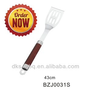 BZJ0031S Stainless Steel Metal Long Handle Heat Resistant BBQ Grill Spatula