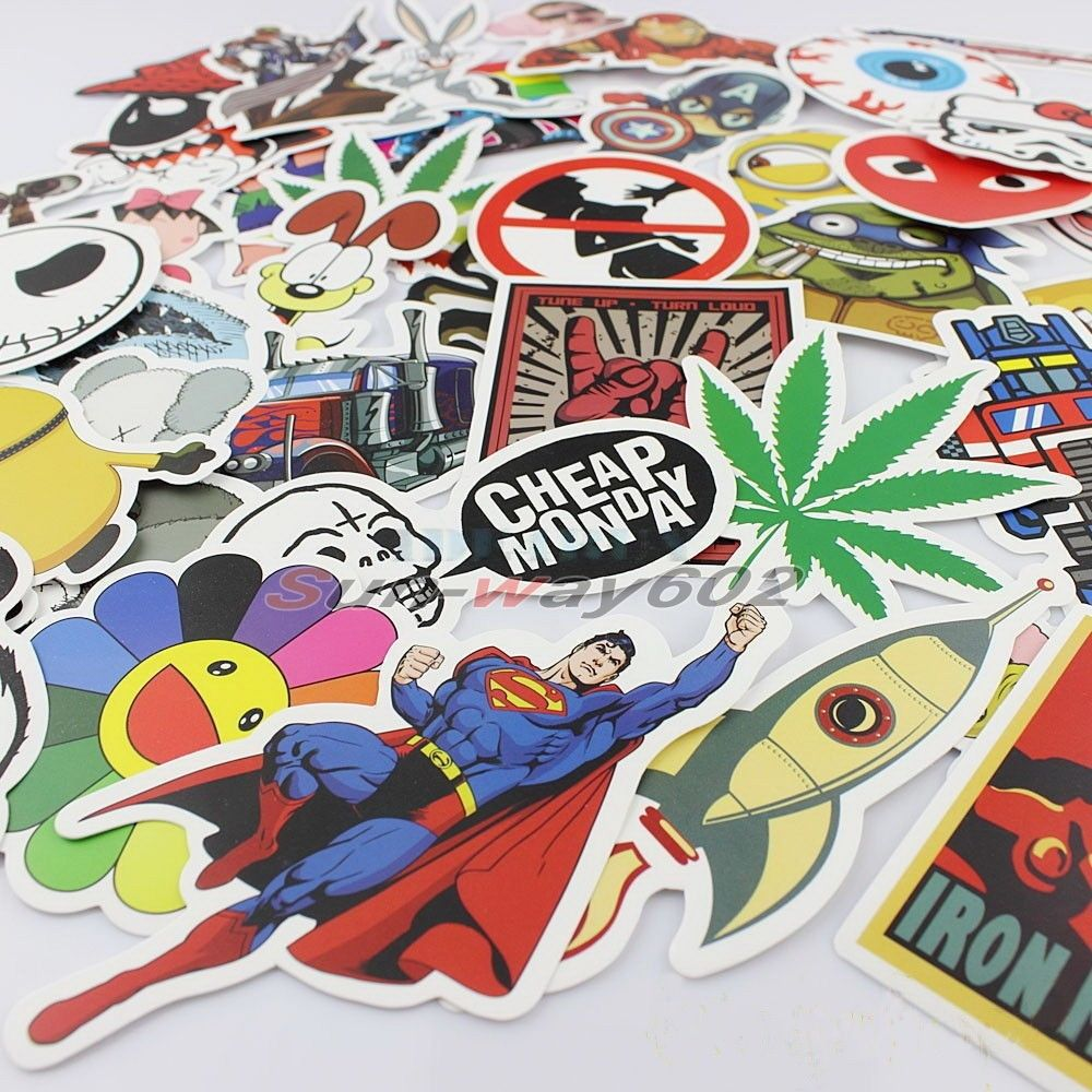 50pcs cute mixed decal Car Styling Sticker for Skateboard Snowboard Vintage Laptop Luggage Car Bike Bicycle