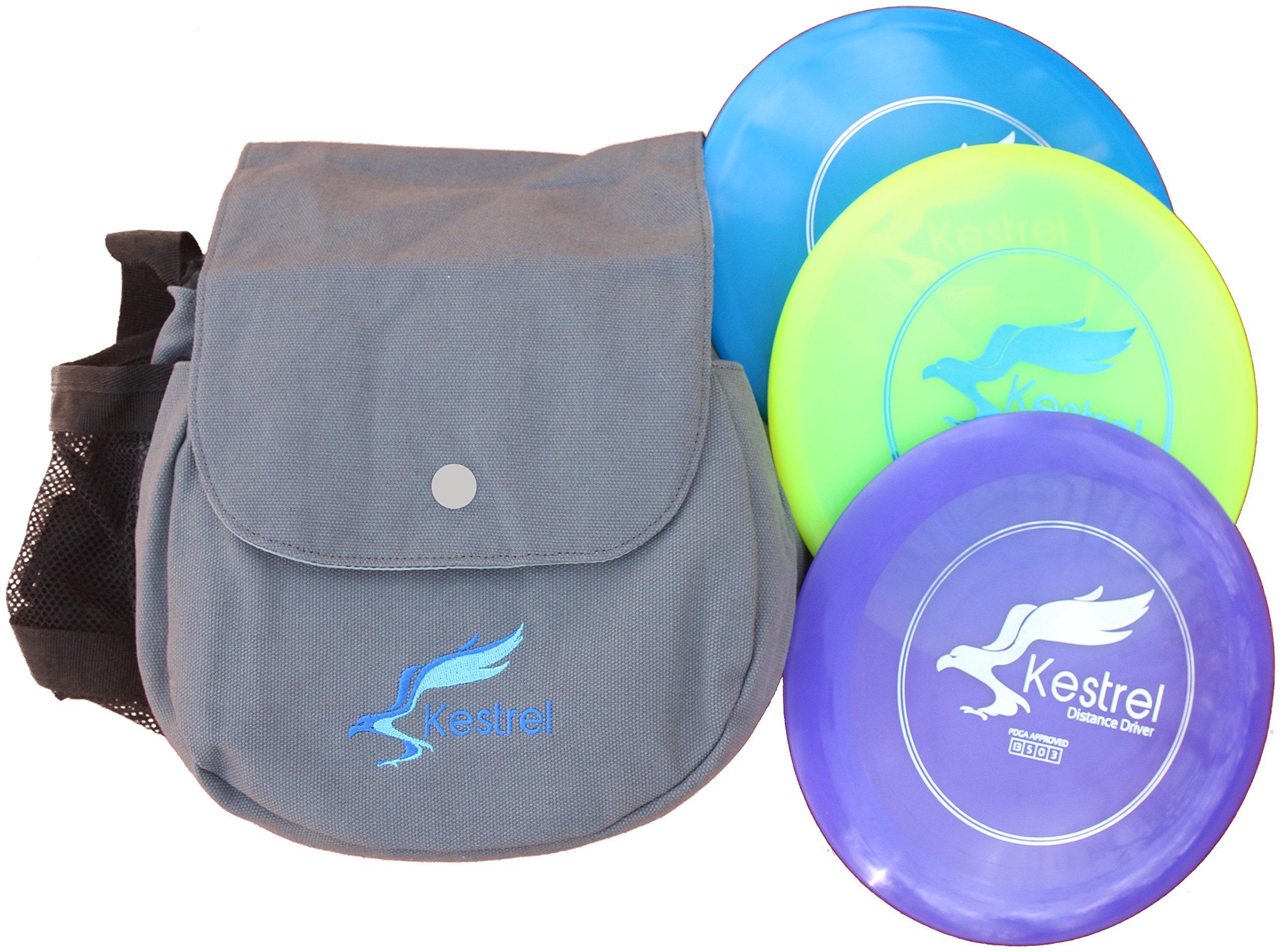 Kestrel Disc Golf Pro Set | 3 Disc Pro Pack Bundle + Bag | Disc Golf Set | Includes Distance Driver, Mid-Range and Putter | Frisbee Golf Set
