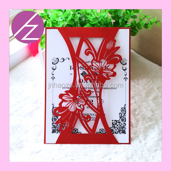 Best selling exquisite laser cut wedding invitation card custom printing insert card&envelope&envelop's seal QJ-36