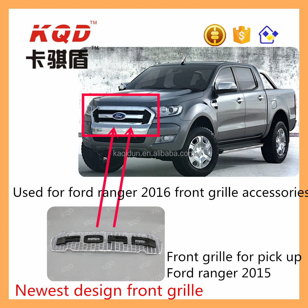 ABS Material car front grille for pickup Ranger body kit front grille bumper middle cover with logo car accessories