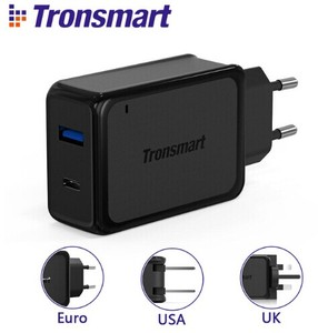 [2 Ports] Tronsmart W2PTU Quick Charge 3.0 USB Charger with USB Type C for Xiaomi for LG G5 Fast Phone Charger Adapter EU US UK
