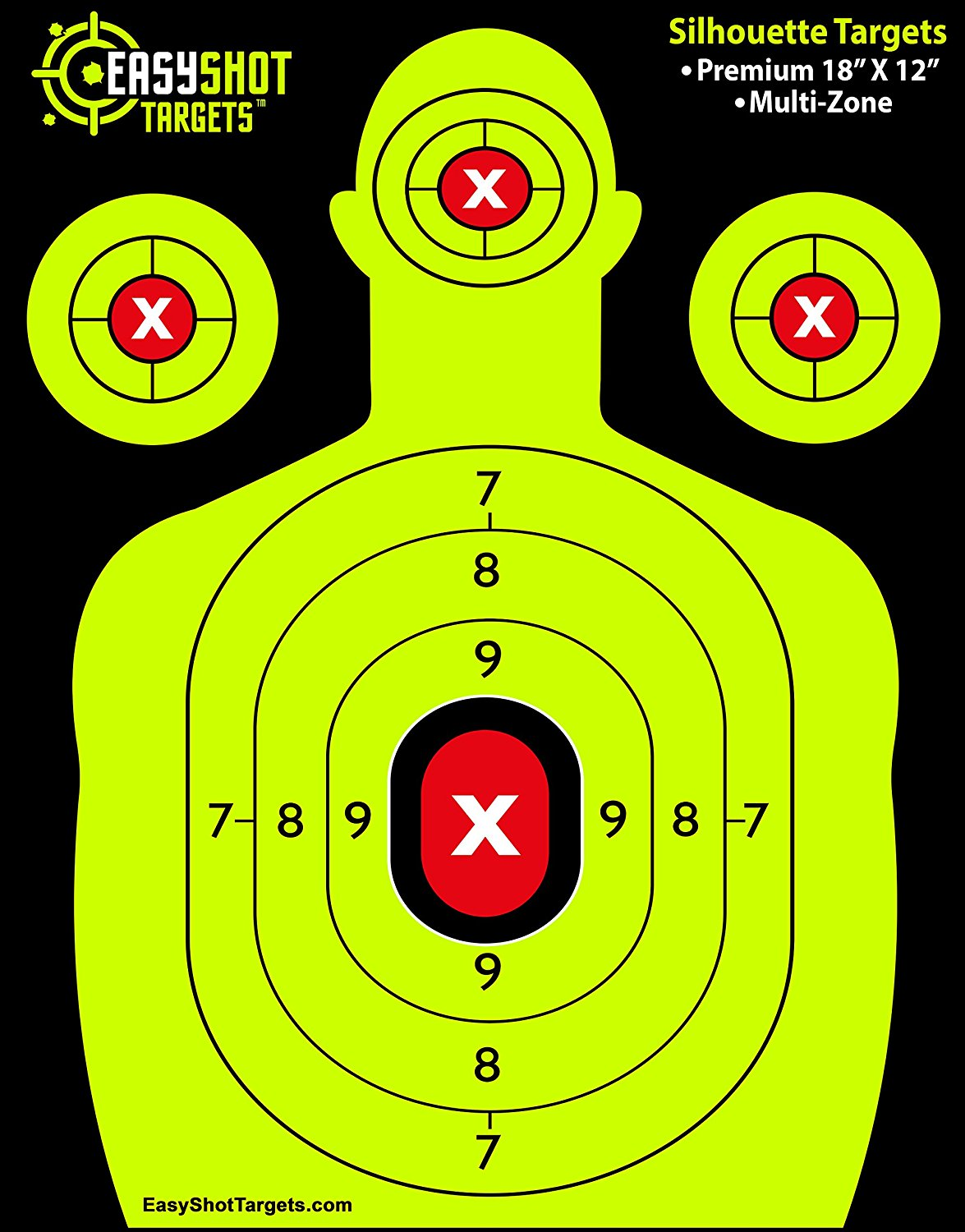 EASYSHOT SHOOTING TARGETS - Green & Red Colors Make it Easy to See Your Shots Land - Heavy-Grade Silhouette Paper Sheets - 150 Free Repair Stickers & EBOOK - Best Value Gun Targets.