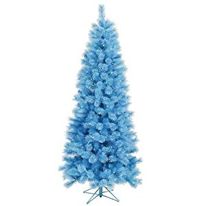 Vickerman Pre-Lit Blue Mixed Pine Cashmere Artificial Christmas Tree with Clear Lights, 7.5'