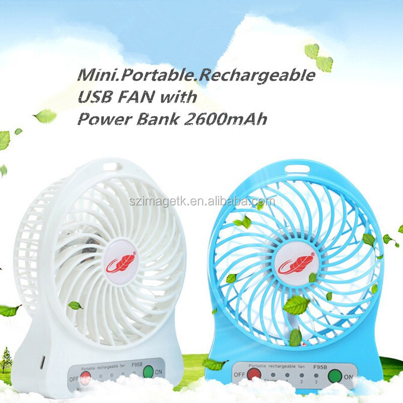 portable 3 speed ceiling fan with light for cooling , rechargeable fan USB for computer with battery