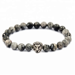 8mm Bead Agate Stone Silver Gold Stainless Steel Lion Charm Picasso Beaded Bracelets