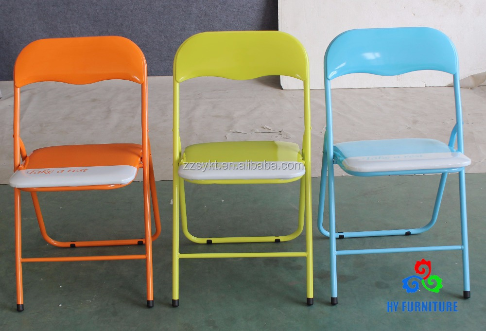 Colored Padded Seat Cushions Folding Chairs Metal Foldable Whole