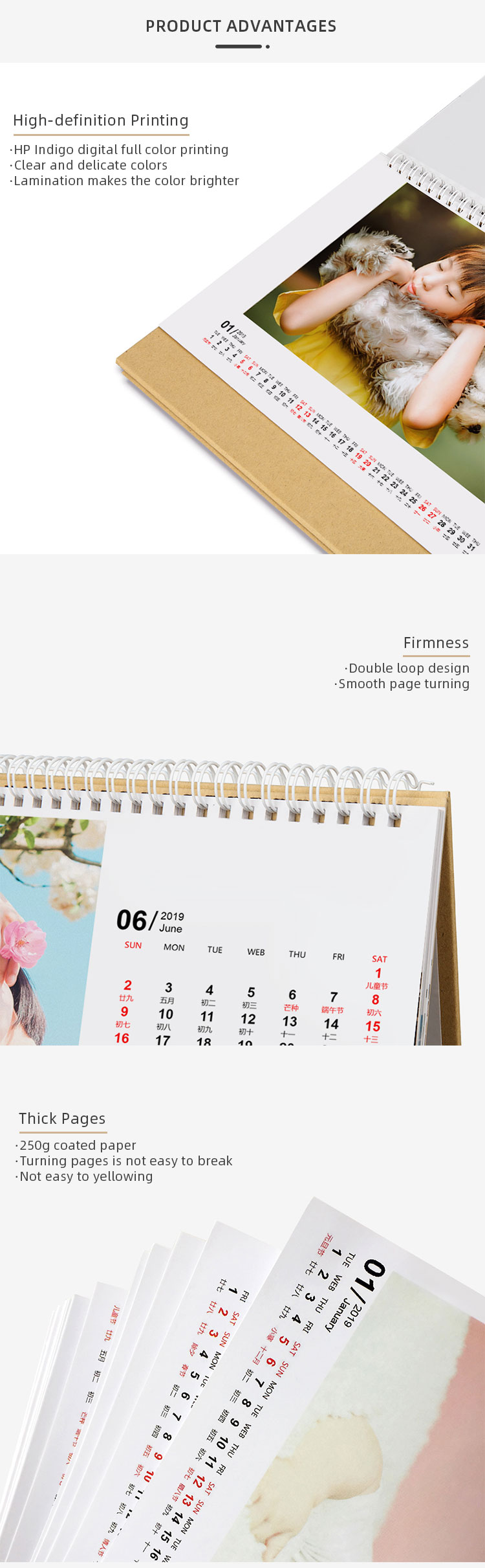 bulk advertise 2020 custom printable monthly flip gloss desk calendar