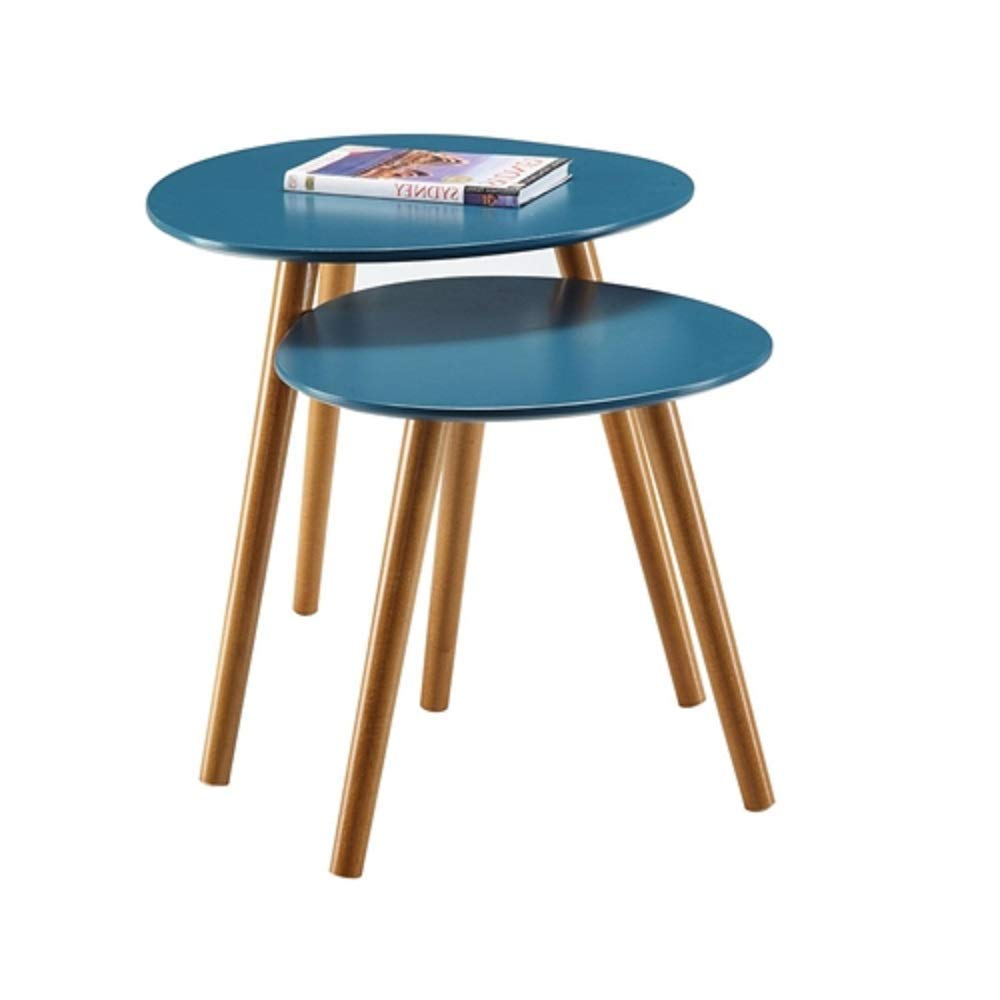 Set of 2 - Mid Century Modern Nesting End Tables in Blue with Solid Wood Legs Century Style Modern Brass Regency MyEasyShopping