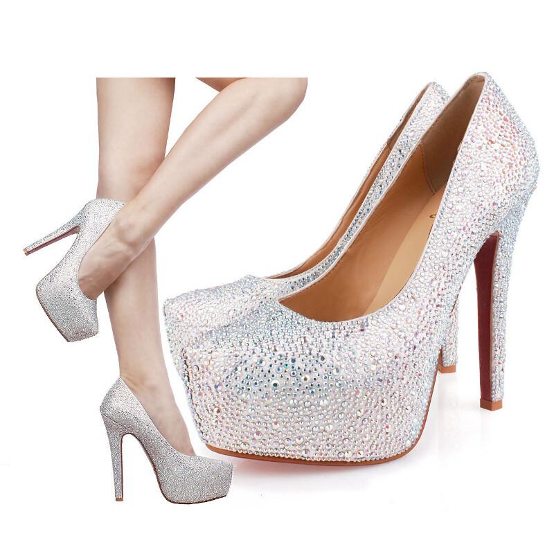 88ebd2a3f2 Women Silver Platform Rhinestone Shoes Red Bottom Wedding Bride Nightclubs  Crystal High Heels Silver Platform Rhinestone Shoes