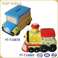 Coin car box,Cute children money pot,popular ceramic pink piggy bank