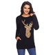 Sparkling Gold Sequin Reindeer Black Christmas Shirt Blouse Women Blusas Ropa Mujer