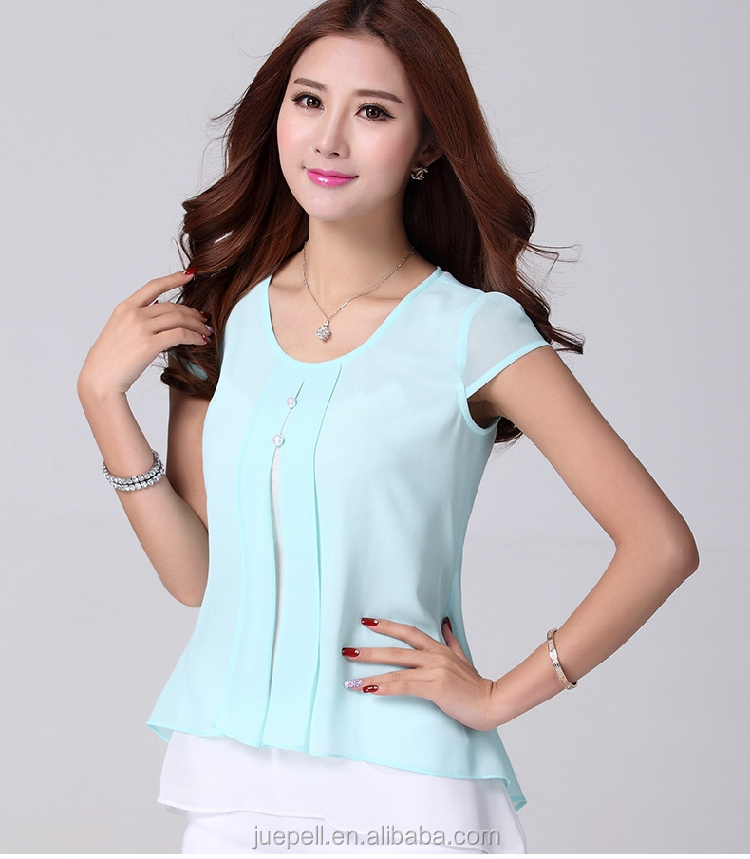 48cf875646450 2015 nueva moda volantes de manga corta de gasa de verano Camisetas blusa  de la fábrica