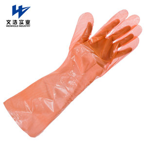 PE EVA disposable gauntlets shoulder length veterinary glove in various colours