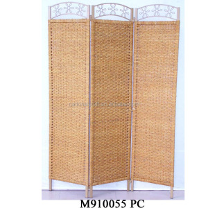 seagrass with iron frame honey-color room divider