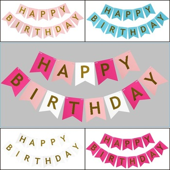 glitter paper multicolor party decoration happy birthday letters string flag