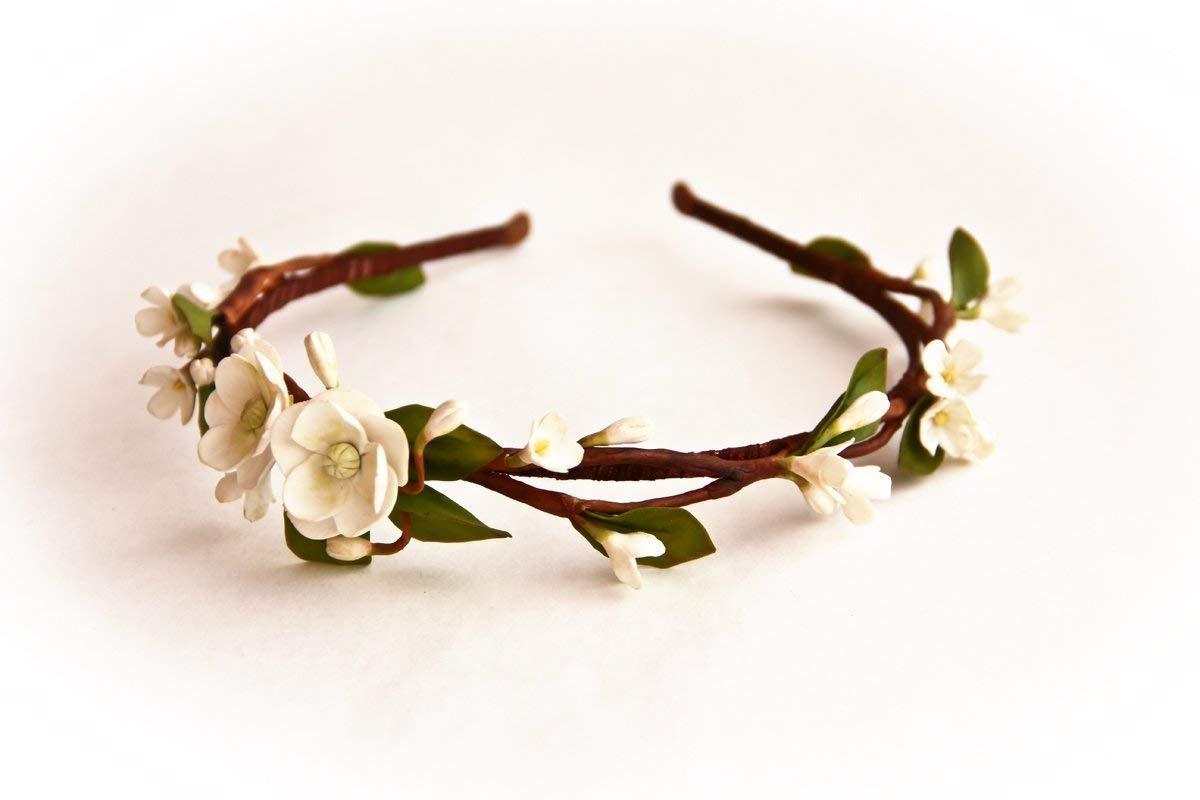 Accessories for brides HANDMADE White flower hair wreath, bridal hair accessory, wedding circlet Headband -AWAKENING- girl crown, flower girl headband, head wreath
