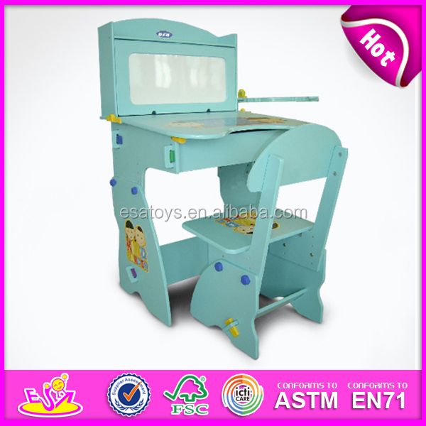 School bus wooden kids study table and chairstudy table with