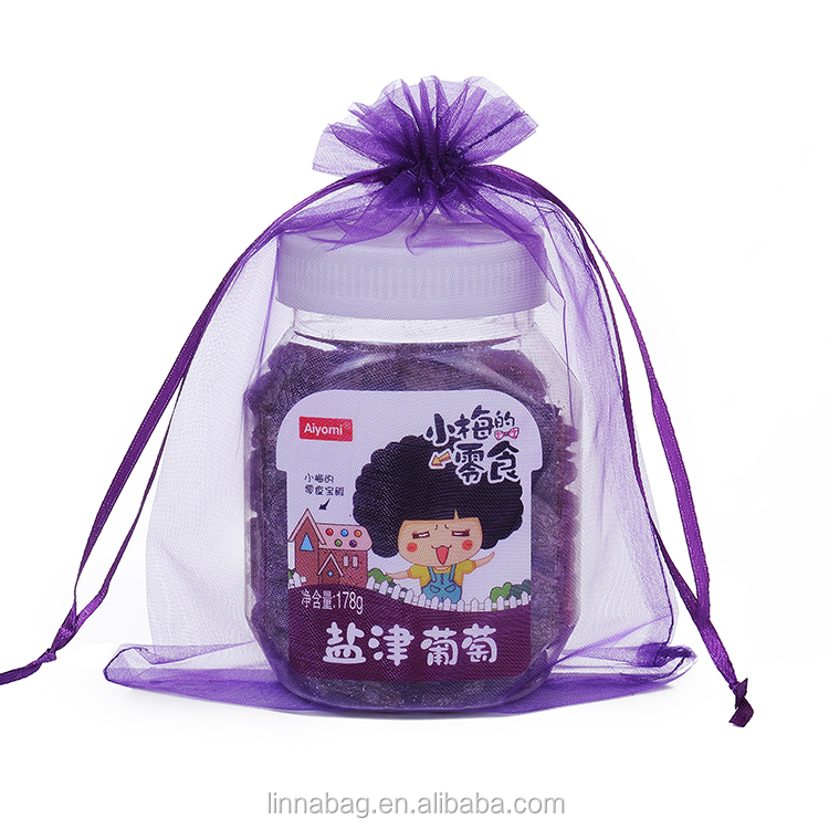 Wholesale YiWu Factory Handmade Promotional 15x20cm Dark Purple Wedding Favors Packaging Organza Drawstring Gift Bag Pouch