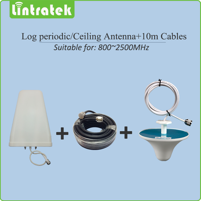 800 2500mhz Log periodic Outdoor antenna Ceiling indoor Antenna 10m cables Accessories for 2G 3G Mobile