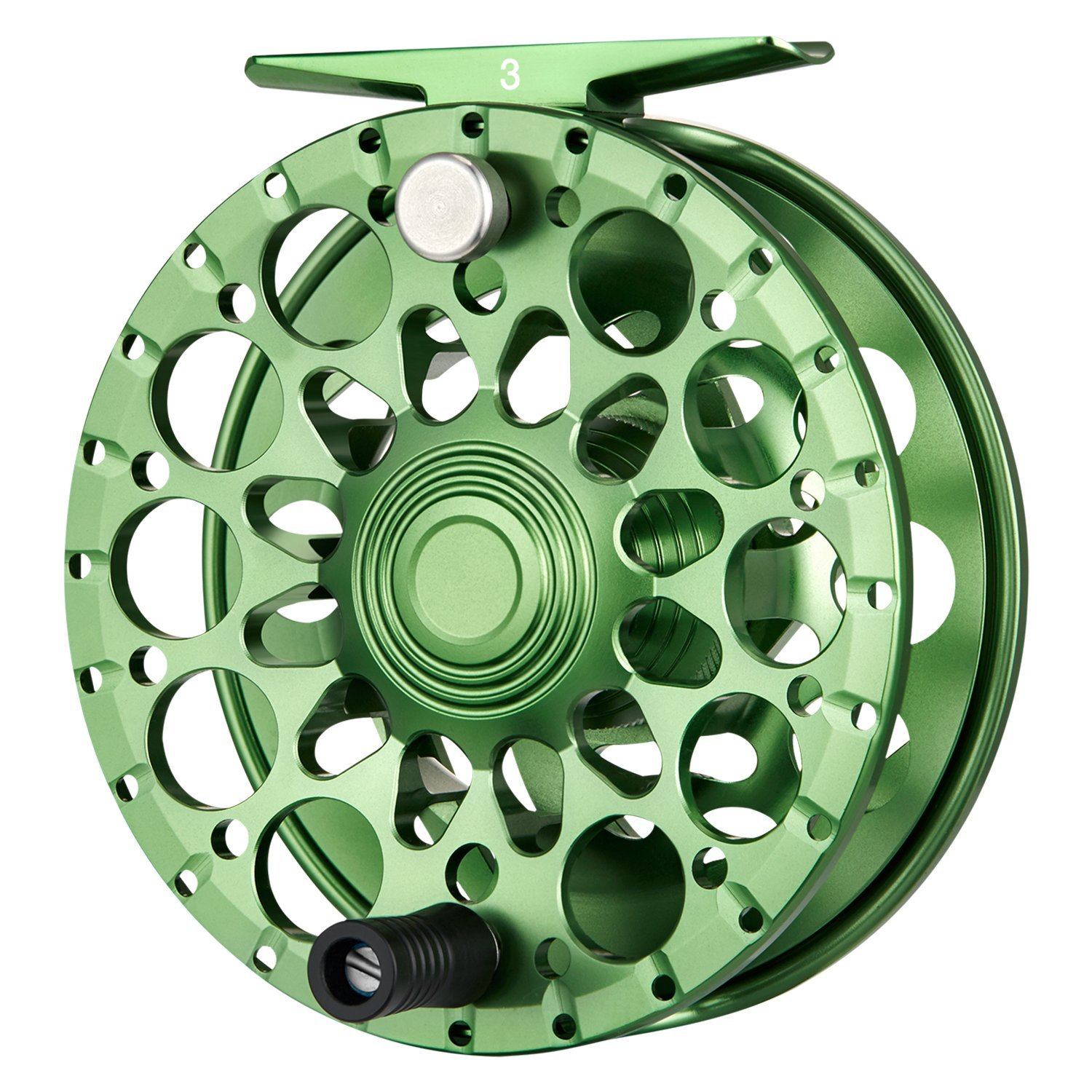 Piscifun Crest Lightweight Fully Sealed Drag Large Arbor Fly Fishing Reel Saltwater CNC-machined Aluminum Alloy Fly Reel 5/6, 7/8, 9/10 (Green,Black)