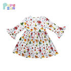 Hot Sell OEM Cartoon Printed Ruffle Toddler Kids Girls Boutique Christmas Dresses For Children