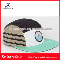 Print custom 5 panels camp hat light blue brim mix-tone colors