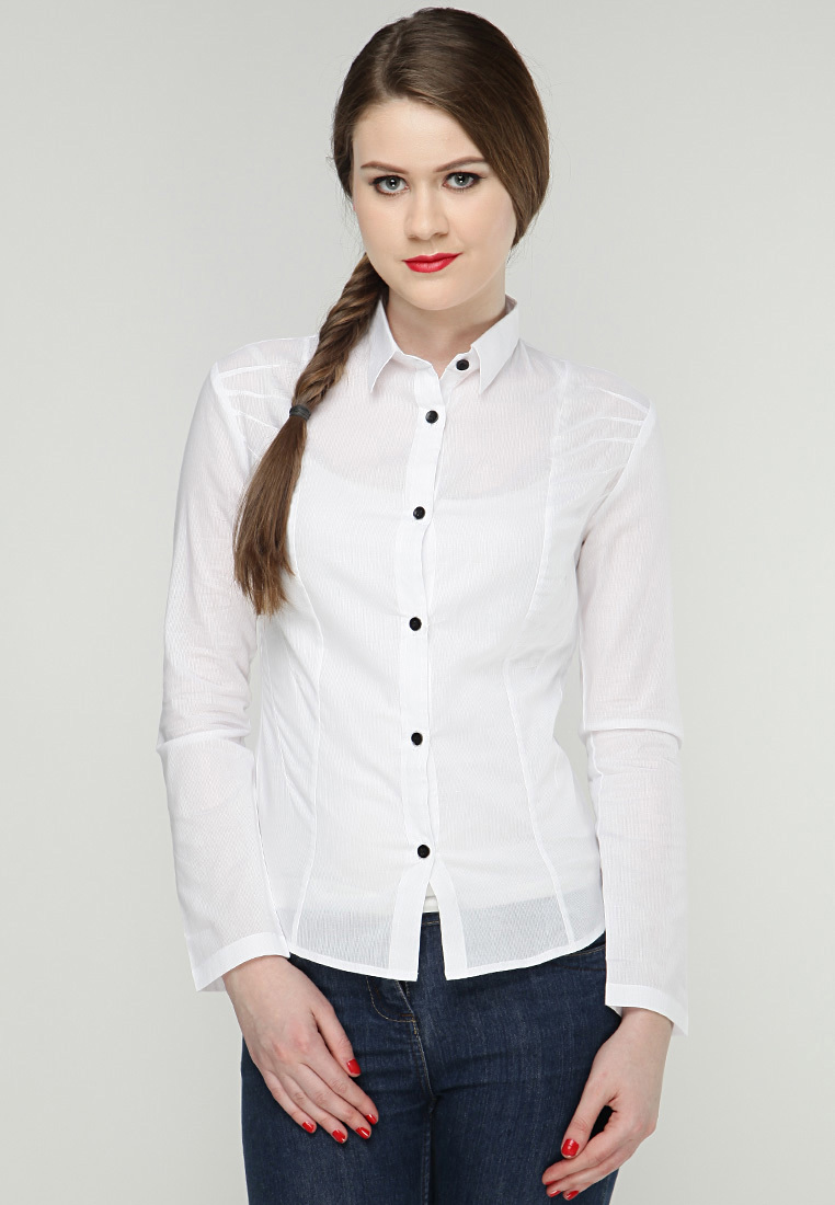 Full Sleeve Solid White Office Wear Shirts For Women - Buy Office ...
