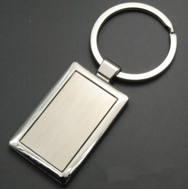 Nice looking shape Rectangular Pendant Silver engraving your custom logo Loss prevention Metal keyring
