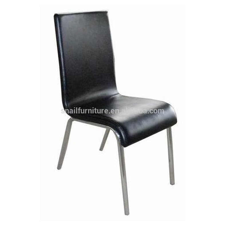 PVC Low Price Dining Chair Modern Visitor Chair In Black