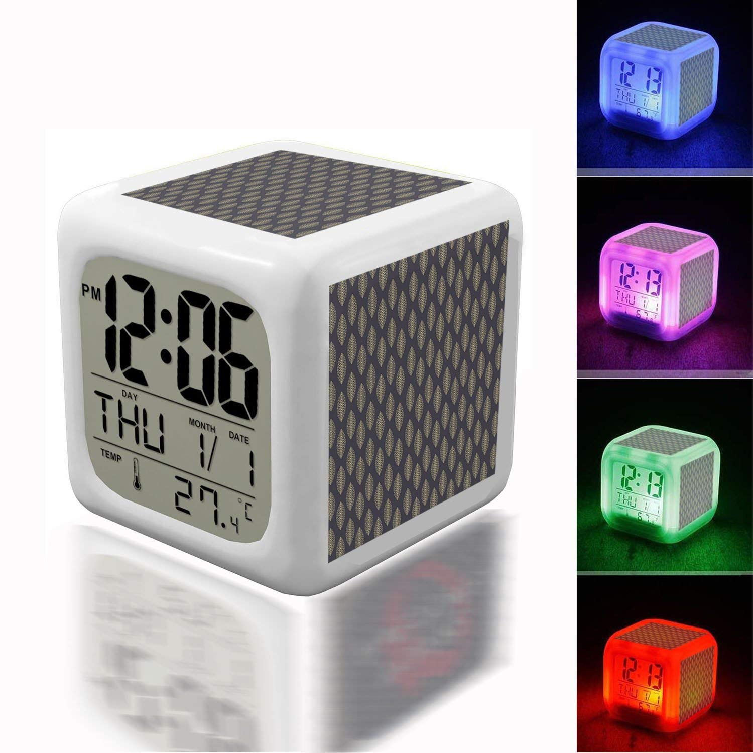 Alarm Clock 7 LED Color Changing Wake Up Bedroom with Data and Temperature Display (Changable Color) Customize the pattern-077.Abstract Elegant Background Pattern Abstract Elegant Background Pattern