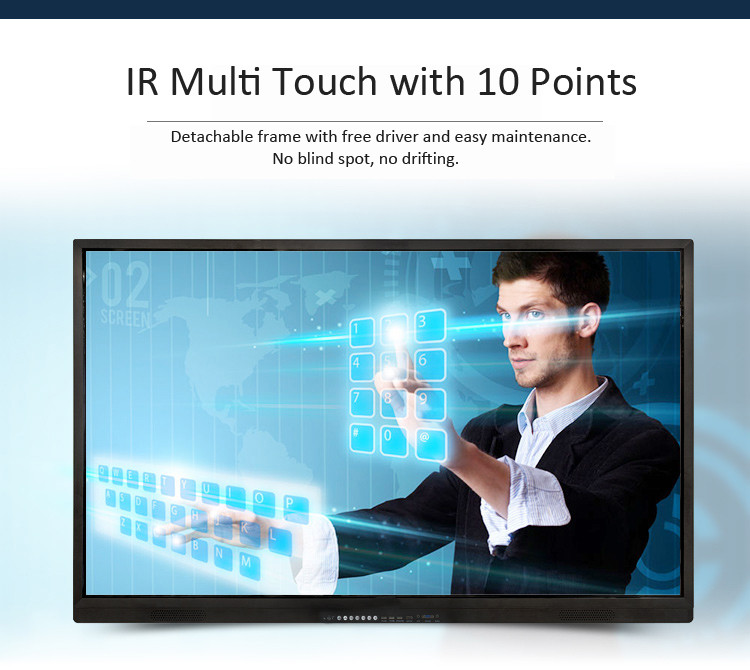 75 inch 4K HD Narrow slim bezel wall mount lcd touch screen display monitor