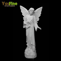 White Marble Beautiful Angel Girl Statue With Wings