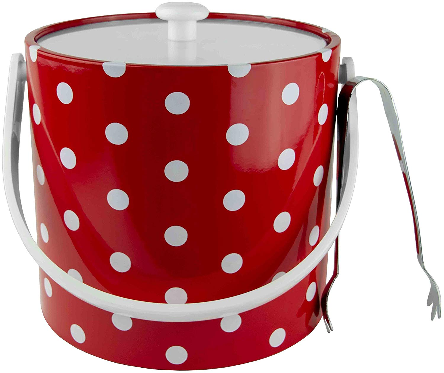 Hand Made In USA Red With White Polka Dots Double Walled 3-Quart Insulated Ice Bucket With Bonus Ice Tongs