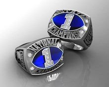 Football Championship ring with blue stone or enamel