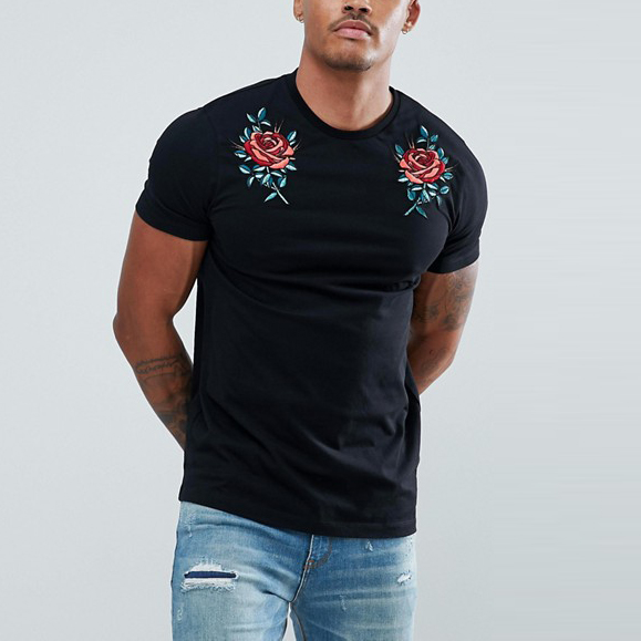 high end fashion wholesale clothing rose embroidery black men t shirt