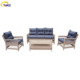Outdoor pe wicker furniture full round rattan lounge suite sofa set
