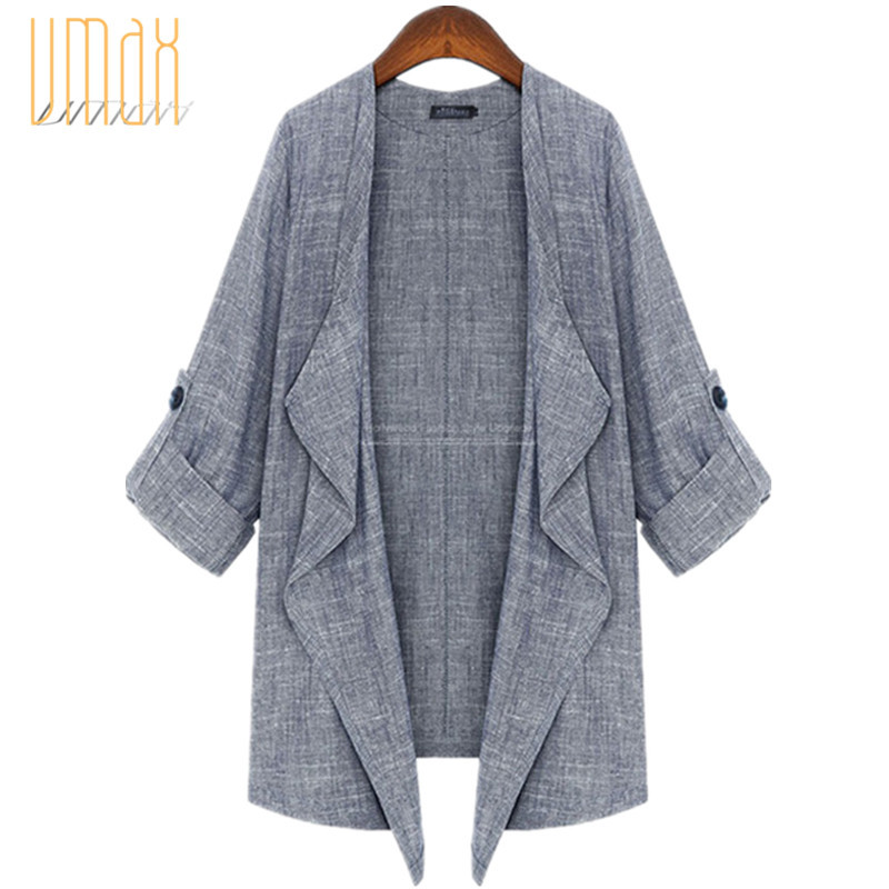 cd8d1252dbd Get Quotations · New 2015 Spring Summer Fashion Casual Grey Roll-up Sleeve  Linen Blend Loose Coat Jackets