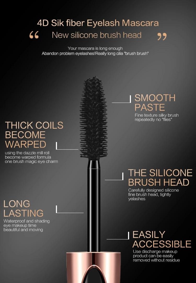 Best Selling Products New Makeup Eye lash Black Feather waterproof 4D Silk Fiber EyeLash Extension Mascara