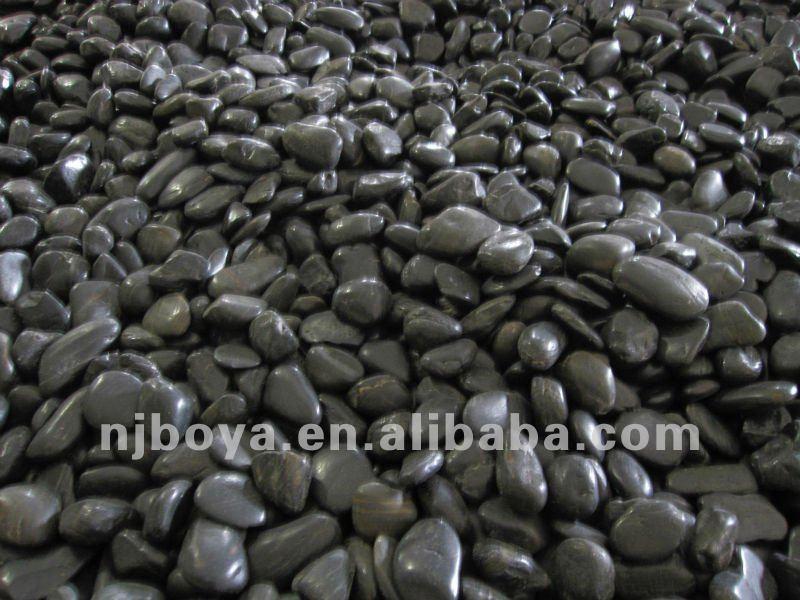 Black Polished Stone Landscaping River Rock