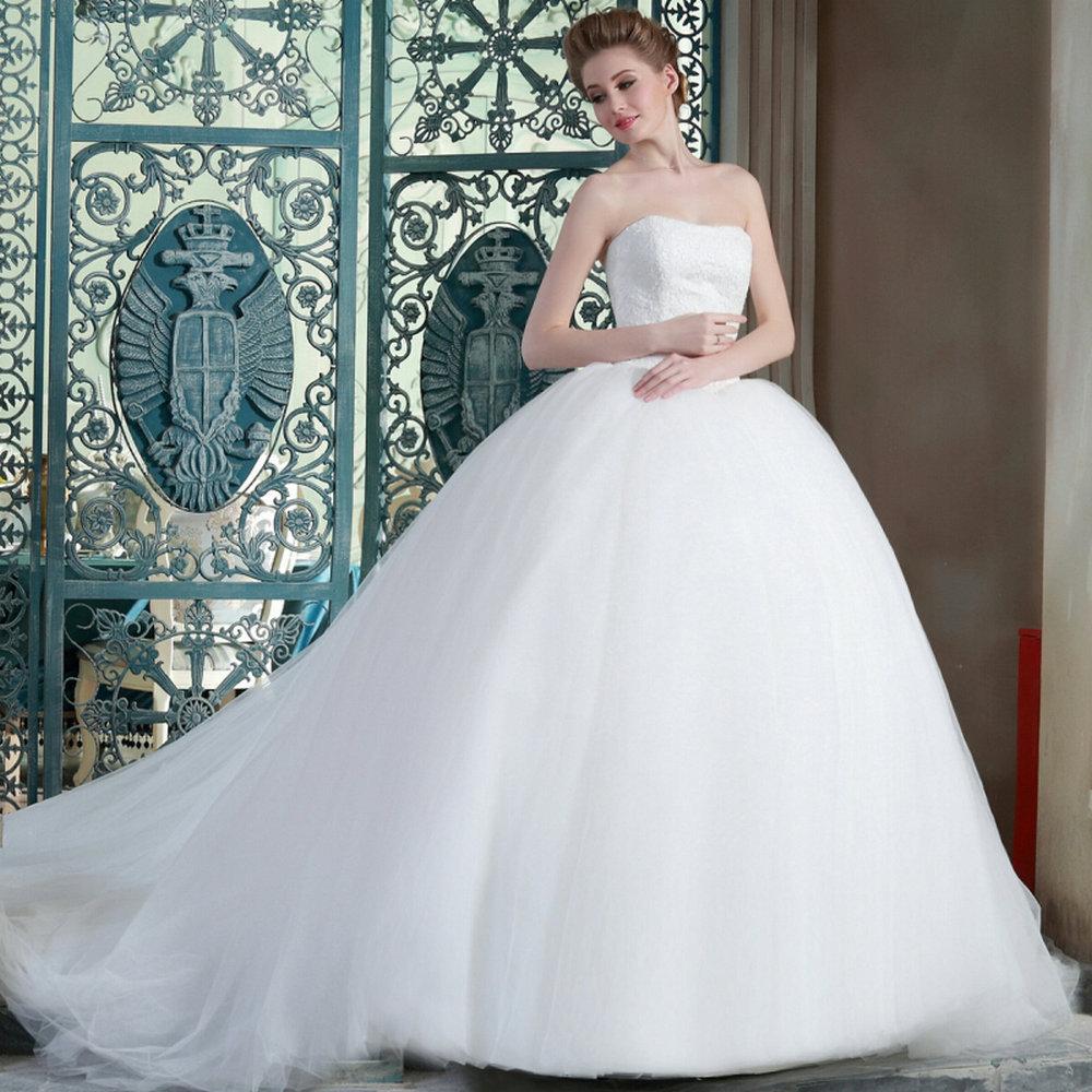 20 Elegant Simple Wedding Dresses Of 2015: Ball Gown Wedding Dresses 2015 MRW00 Puffy Princess