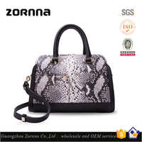 2016 Custom Ladies High End Cow Leather Snake Embossed Hand Tote Bags Handbag with Private Label