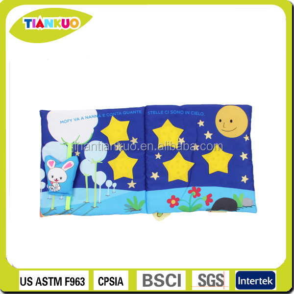 Educational toy custom OEM design fabric book baby cloth book