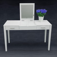 Dressing Table Makeup Desk w/ Foldable Vanity Mirror 2 Drawers Storage White New