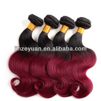 Remy human hair weft color1b red, cheap virgin remy ombre hair,two tone hair color ring color chart